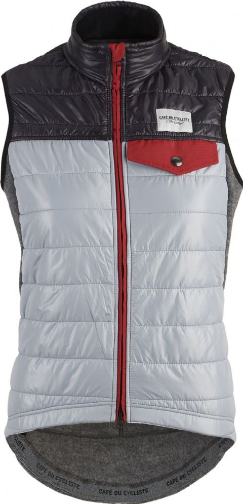 Café Du Cycliste Women's Albertine Windproof Down Gilet - Grey & Navy